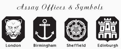 the 4 symbols for silver hallmarks Anchor for Birmingham, an English Rose for Sheffield, a Leopard's head for London, and Edinburgh Castle for Edinburgh.