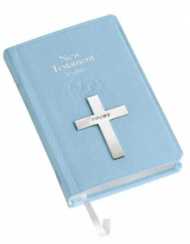 silver blue bible silver baptism gift