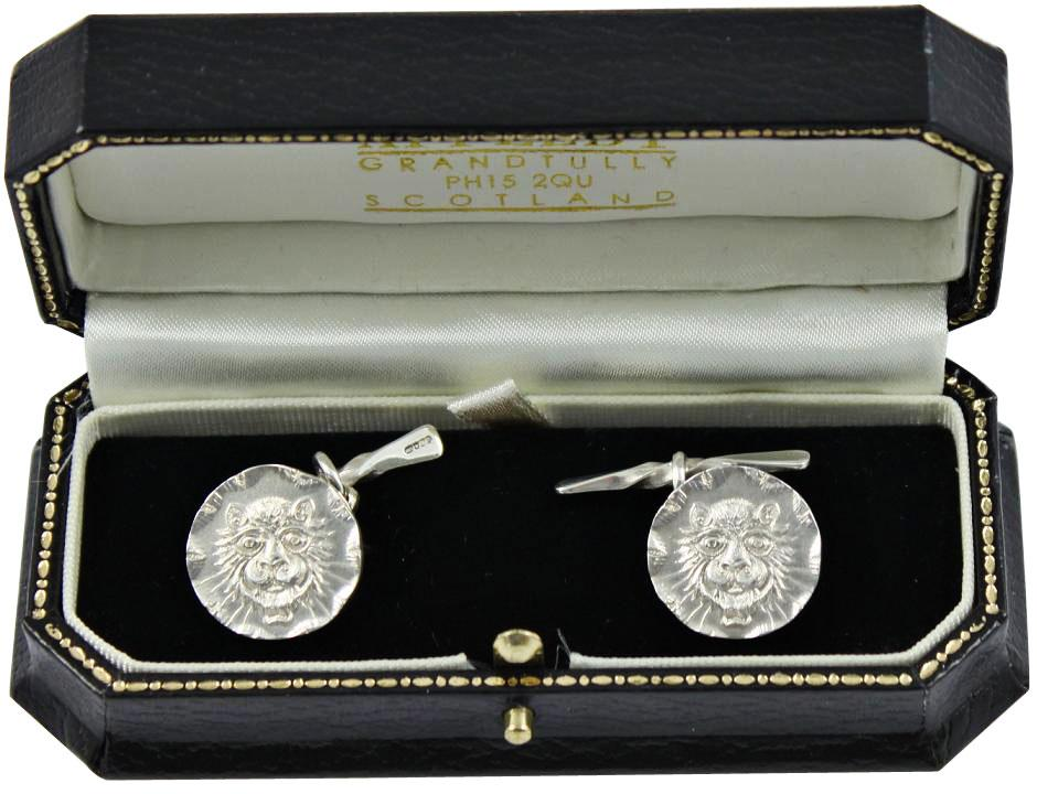 solid silver cufflinks Leopard by Malcolm Appleby