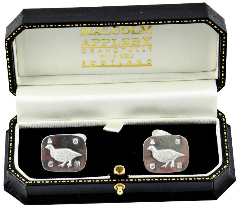 grouse cufflinks by Malcolm Appleby boxed