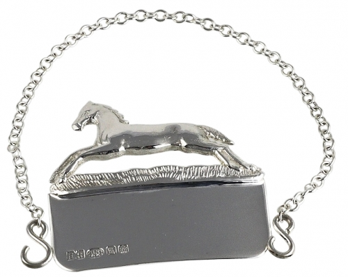 silver decanter label with a silver horse