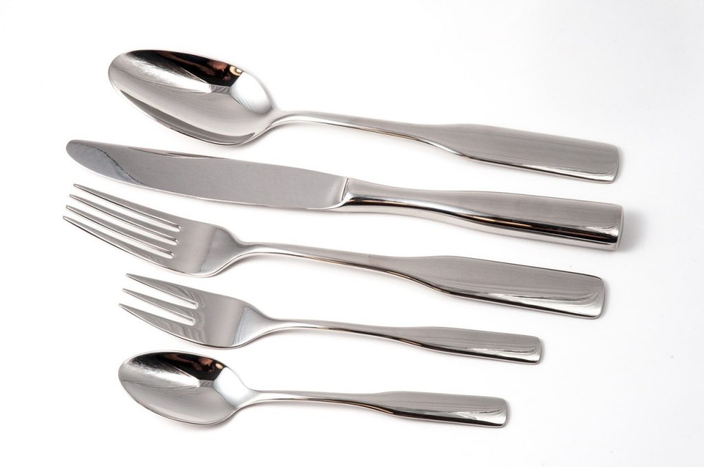 traditional silver cutlery set, soup spoon, main course silver knife and fork, desert silver spoon and fork picture links to product