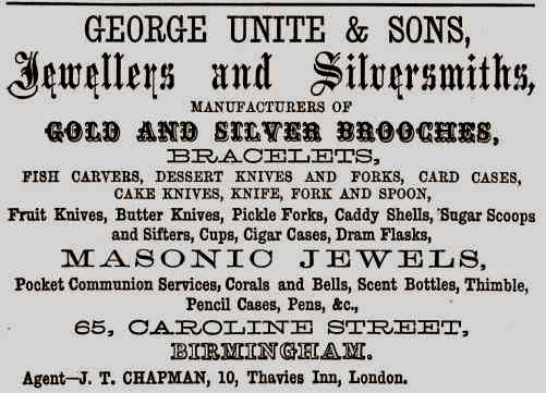 George Unite and sons advert for silver napkin ring