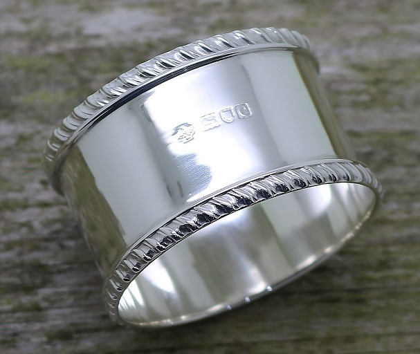 highly polished napkin ring restored by Edinburgh silver