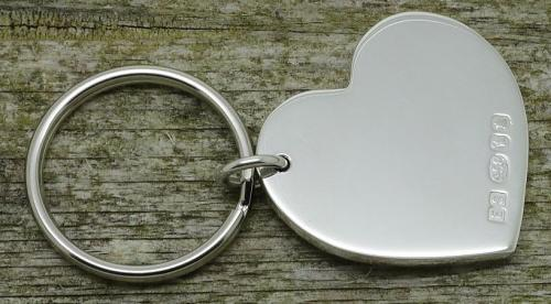 heart shaped Britannia silver keyring