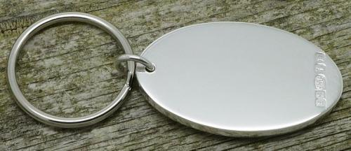 oval Britannia silver keyring
