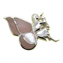 Solid Silver Pink Tooth Fairy Brooch 503033