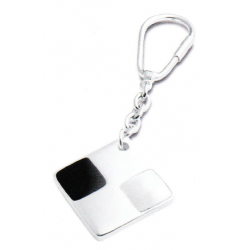 Solid Silver Hallmarked Square Mop & Onyx Keyring.