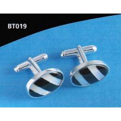 Solid Silver  Mop And Onyx Cufflinks BT019