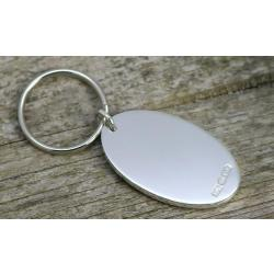 Solid Silver Oval Keyring sh