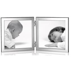 Solid Silver Hallmarked Double Photo Frame with solid wood back