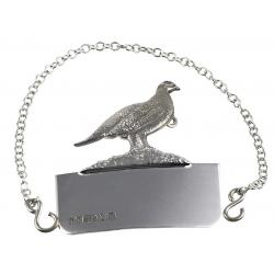 Solid Silver Decanter Label Grouse